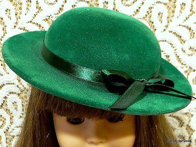 "**SALE** GREEN Velvet Brimmed DOLL HAT Ribbon Trim fits 18"" AMERICAN GIRL DOLL"