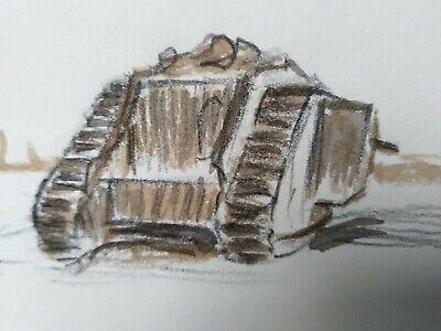 Journeys End ( Knocked out MKIV Tank & Graves)  original study tank regiment