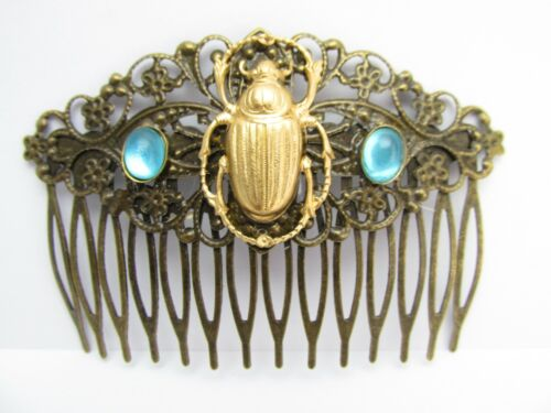 Vintage scarab hair comb aquamarine crystals French twist classic elegant look