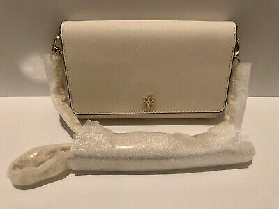 Tory Burch (52899) Saffiano Leather Emerson Chain Wallet Crossbody  IVORY NWT