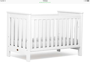 Boori Pioneer White Timber Cot + bonus'! Hove Holdfast Bay Preview