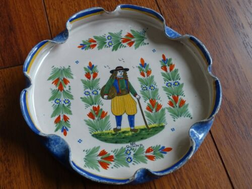 VINTAGE PLATER DISH FRENCH FAIENCE HR QUIMPER circa 1910s