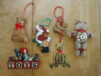 Holiday/Christmas 6 Bear Ornaments/Decorations.