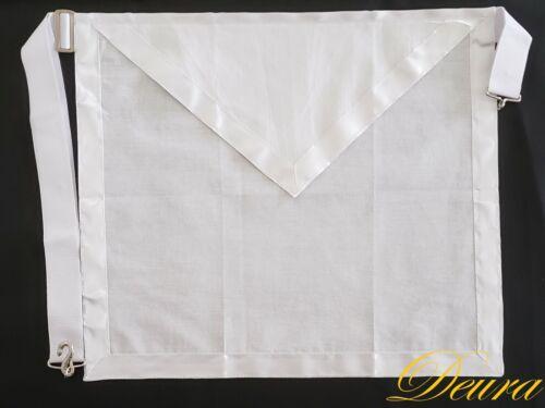 "FREEMASON MASONIC MEMBER White Cloth Cotton Apron Elastics Snake Snap 16"" x 14"""