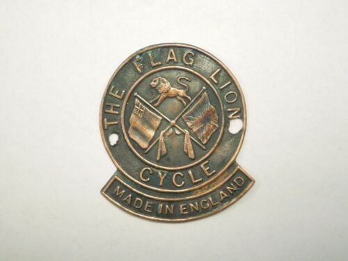 Vintage The Flag Lion Cycle Made in England Bicycle Head Badge Emblem