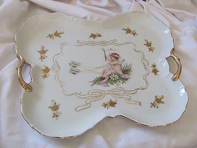 German porcelain dresser tray cherub angel butterflies gold handles vintage