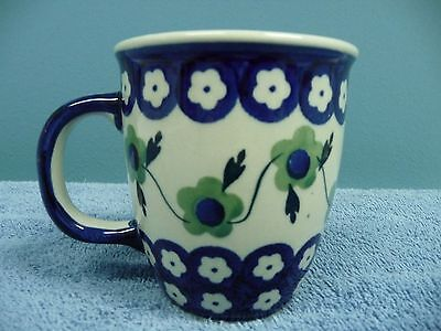 Boleslawiec Handmade Hand Painted Coffee Mug Made in Poland Blue Floral Design