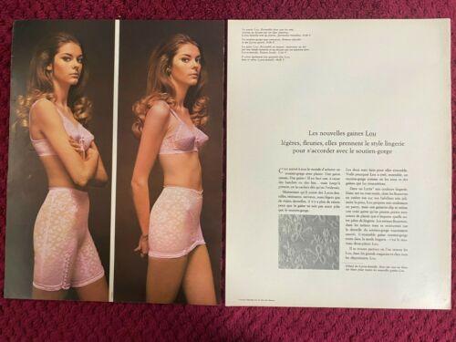 1969 LOU  Lingerie BRA & GIRDLE    French  Magazine PRINT AD ( 2-pg )