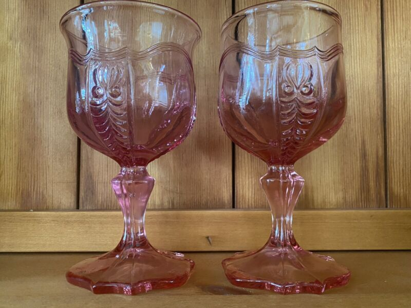 (2) EMPRESS COLONIAL PINK BY FENTON WATER GOBLETS