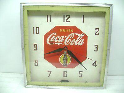 """VINTAGE 1930's NEON 15 1/4"""" COCA COLA ELECTRIC WALL CLOCK"""