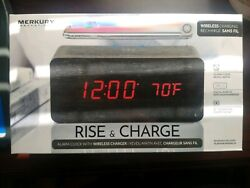 Rise & Charge Merkury Innovations Alarm Clock Docking Station Black New