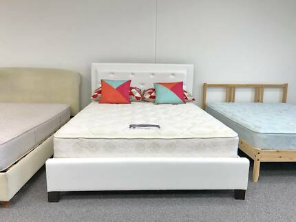 DELIVERY TODAY WHITE Queen LEATHER bed & mattress QUICK SALE