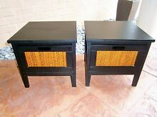 2x Low 1 Drawer Cane/Wooden Bedside Tables / Side Table / Drawers Rothwell Redcliffe Area Preview