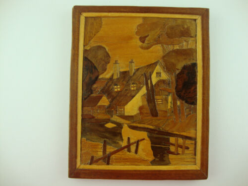 """Wood Inlay Marquetry Framed Picture """"Red Roofs"""" by F.M. Jodson 8"""" x 10"""""""