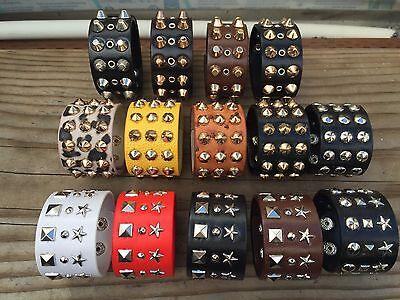 Metal Stud Spike Rivet Leather Bangle Cuff Bracelet Wristband - Spiked Bracelet