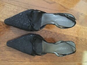 Size 11 Beaded black sling back dress shoes