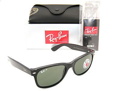 Ray-Ban New Wayfarer Black Frame / Green Polarized RB 2132 901/58 55MM (Ray Ban Wayfarer 2132 55mm Polarized)