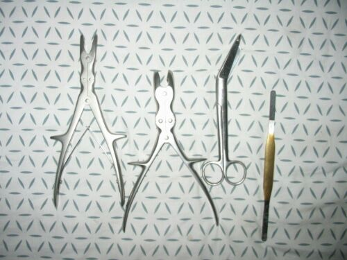 Aesculap Karl Storz lot of 4 surgical instruments Scissors Bone Rongeur File
