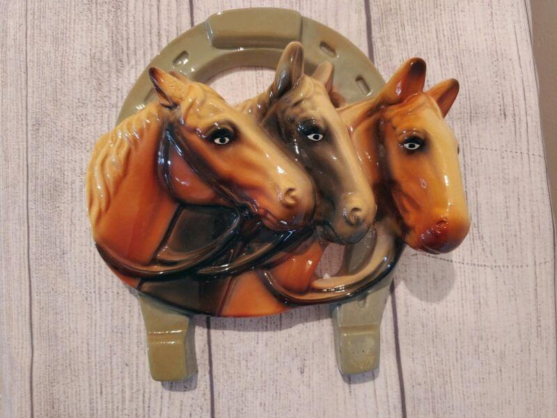 Vintage Chalk Triple Horse on Horse Shoe Plaque