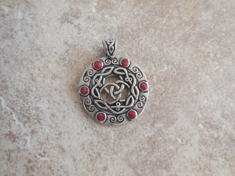 PEWTER CELTIC KNOT AMULET PENDANT NECKLACE RED STONES CHARM WISH HEALING CAT