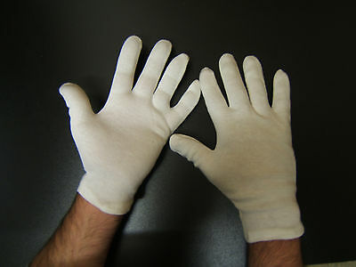 3 x Pairs of 100% Cotton White Gloves, used for allergies,lining,art,costume