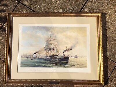 """Signed framed limited edition Robert Taylor """" Evening arrival"""" with brass plaque"""