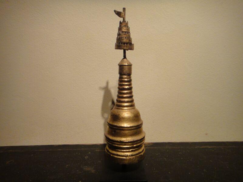 Antique Burmese Teakwood Stupa.  Early 20th.