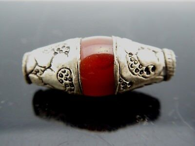 Vintage Nepal SP Engraved Natural Carnelian Smooth Agate Bead One Piece