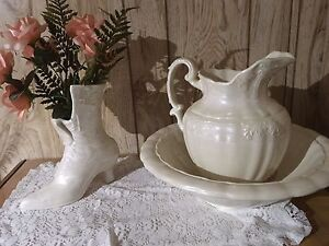 Ceramic old fashioned lady's boot and water pitcher