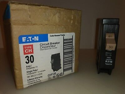 Eaton Cutler Hammer Chf130 1 Pole 30 Amp Circuit Breaker Wtrip Indicator Ch New