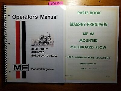 Massey Ferguson Mf 43 Fully Mounted Moldboard Plow Owner Operator Manual Parts