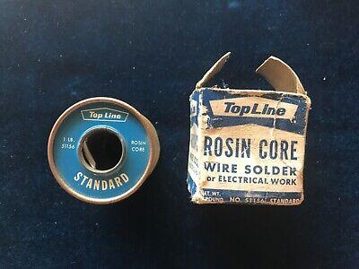Vintage Top Line Standard Rosin Core Solder Roll No 51156 With Original Box 1 Lb