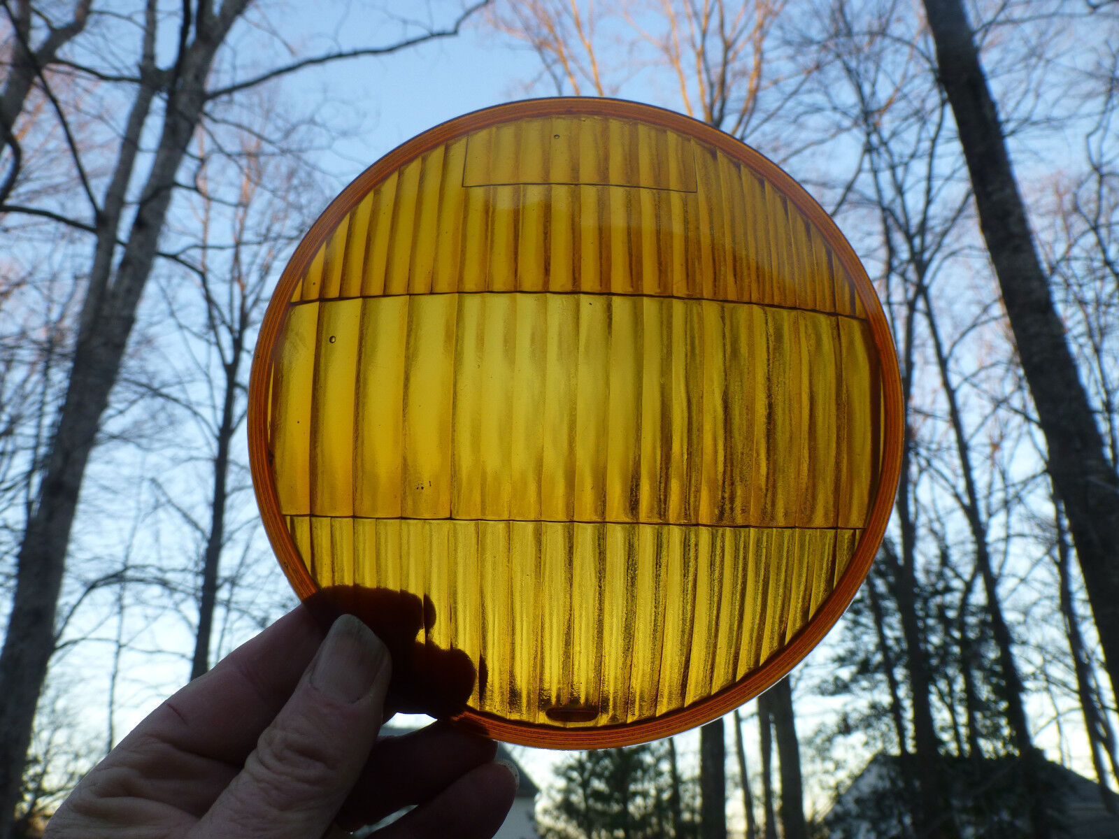 """Antique Vintage Auto Car 6 1/4"""" domed Amber For Driving Glass Lens"""