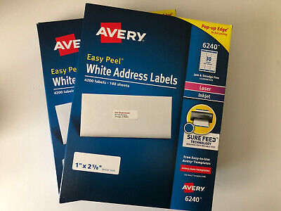 Avery Easy Peel White Address Labels 6240 51608160 - 8400 Labels 2 X 4200