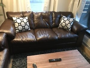 Brown Leather-look Couch and Loveseat