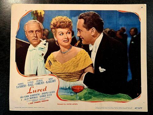 LURED ORIGINAL LOBBY CARD 1947, GEORGE SANDERS, LUCILLE BALL, BORIS KARLOFF