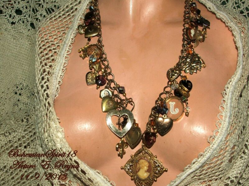 Vintage RELICS CHARMS ARTISAN NECKLACE CAMEOS,BRASS LOCKETS FILIGREE CLASP