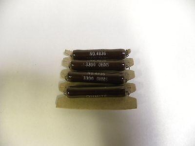 4 Nos Vintage Ohmite No.4836 Resistor 3300 Ohm