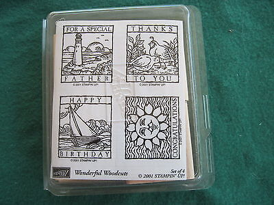 Stampin Up - WONDERFUL WOODCUTS - 4 rubber UNMOUNTED Wood stamps Birthday Thanks