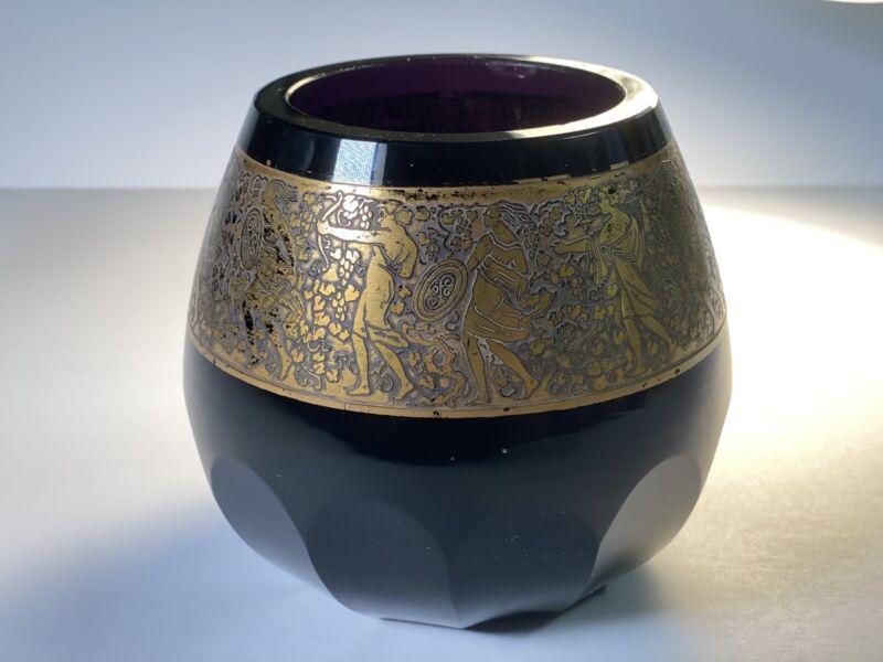 VINTAGE BLACK AMETHYST GLASS VASE - LUDWIG MOSER KARLSBAD CIRCA 1920