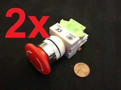 2 Pieces  660v 10a 40mm Red Sign Emergency Stop Switch Push Button Mushroom A5