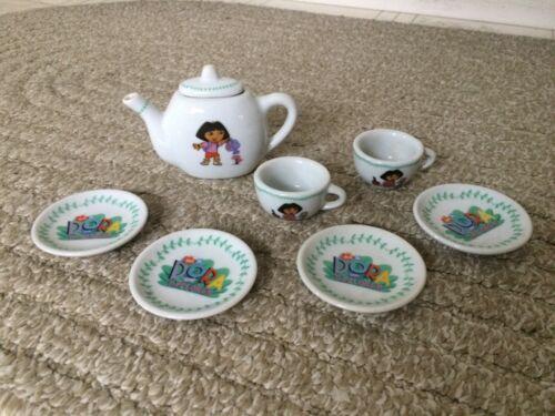 2006 Viacom Dora The Explorer 8 Piece Porcelain Mini Tea Set Nick Jr. Glass Play