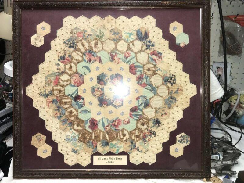 1840 Hand Sewn Stitched Patchwork Quilt - Framed Display -Elizabeth Telts Batty