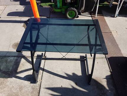 SMALL GLASS TOP DESK TABLE - GOOD CONDITION