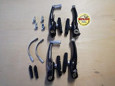 KIT FRENI V-BRAKE PER MONTAIN BIKE E CITY BIKE IN ALLUMINIO VERNICIATO NERO