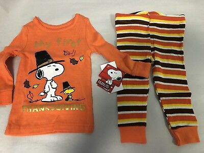 Thanksgiving Peanuts (Peanuts Snoopy First thanksgiving Baby Pajamas Tight fit)
