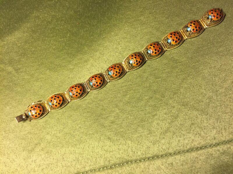 Vintage Chinese Guilded Silver Filigree Enameled Ladybug Panel Bracelet 18.5g
