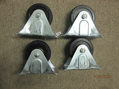 4 New Solid Fixed Plate Non-swivel 4-14 X 1-14 Wheel Caster Hard Rubber