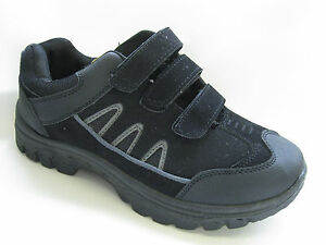 mens velcro fastening trainers casual shoes black grey