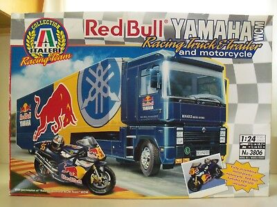 ITALERI RED BULL YAMAHA RACING TEAM TRUCK TRAILER MOTORCYCLE MODEL KIT